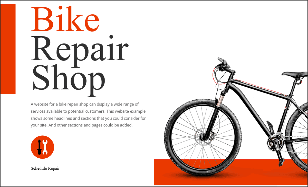 Website for a bicycle repair shop